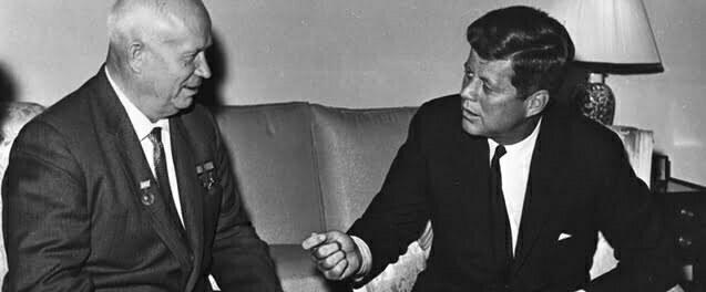 John Kennedy and Nikita Khrushchev